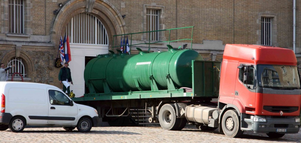 A tanker load of freshly pressed juice arrives at Pol Roger's winery in Epernay
